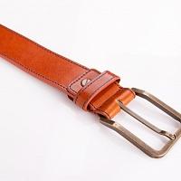 Hnědý kožený opasek s prošíváním | Kožený pásek hnědý s prošíváním