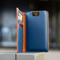 Hnědo modrá peněženka s pouzdrem na iPhone 6/6s | Kožená peněženka s pouzdrem na iPhone 6