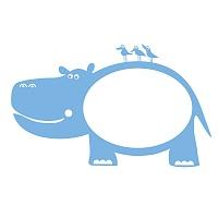 Bílá nalepovací tabule pro děti hroch detail | Bílá nalepovací tabule hroch (t08)