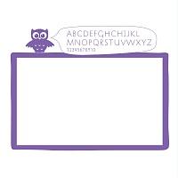 Bílá samolepicí tabule na zeď detail 043 | Bílá nalepovací tabule sova (t10)