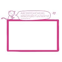 Bílá samolepicí tabule na zeď s abecedou do dívčího pokoje detail 041 | Bílá nalepovací tabule kočka (t12)