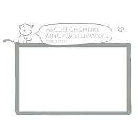 Bílá samolepicí tabule na zeď s abecedou do dívčího pokoje detail 074 | Bílá nalepovací tabule kočka (t12)
