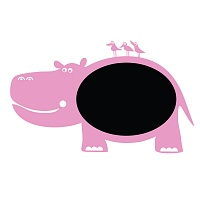Černá nalepovací tabule pro děti hroch detail 045 | Černá nalepovací tabule hroch (t07)