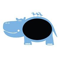 Černá nalepovací tabule pro děti hroch detail 056 | Černá nalepovací tabule hroch (t07)