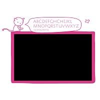 Černá samolepicí tabule na zeď s abecedou do dívčího pokoje detail 041   Černá nalepovací tabule kočka (t11)