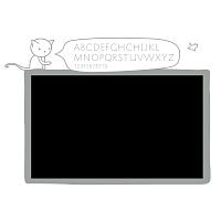 Černá samolepicí tabule na zeď s abecedou do dívčího pokoje detail 074   Černá nalepovací tabule kočka (t11)