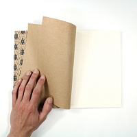Vnitřek zápisníku (ořízka, předsádky a samotný blok zápisníku)   Tečkovaný zápisník Blad