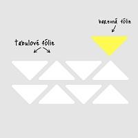 Tabulové trojúhelníky na zdi v kanceláři bílé velká sada info | Bílé tabule trojuhelníky malá sada (t27)