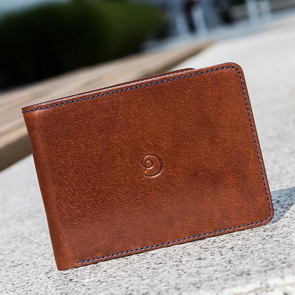 Kožená Slim peněženka tmavě hnědá