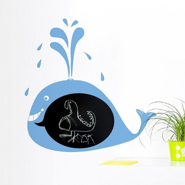 Černá nalepovací tabule velryba (t05) | Fugu