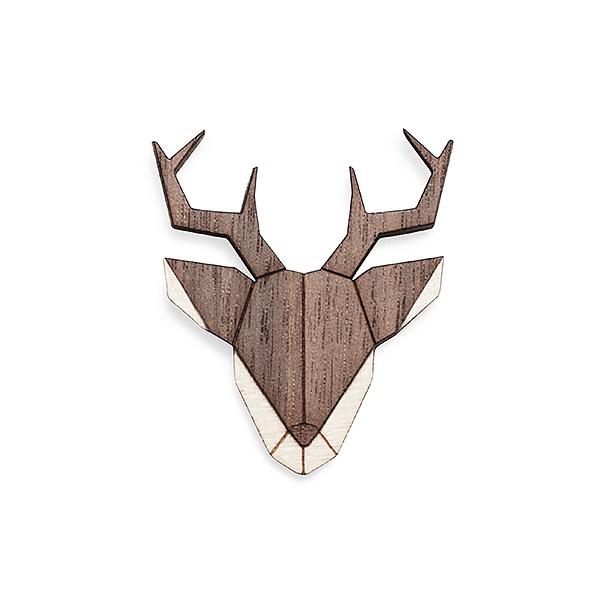 Dámská dřevěná brož Deer Brooch