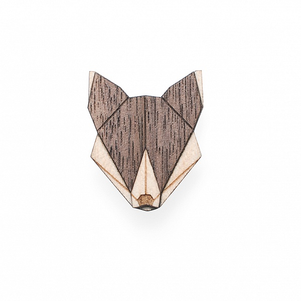 Dámská dřevěná brož Wolf Brooch | BeWooden