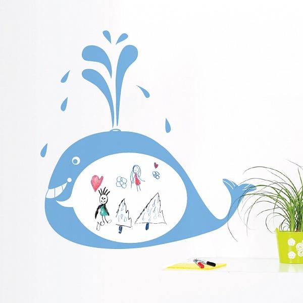 Bílá nalepovací tabule velryba (t06) | Fugu