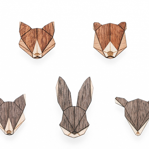 Dřevěný set Animal Brooches Set | BeWooden