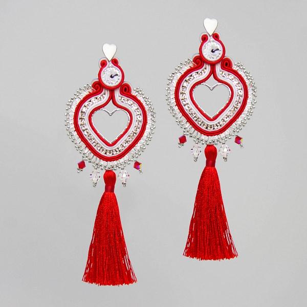 Náušnice Srdcia červeno-biele/Chromantic