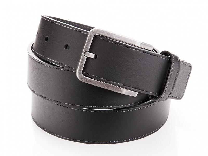 Černý kožený opasek s prošíváním | Kožený pásek černý s prošíváním