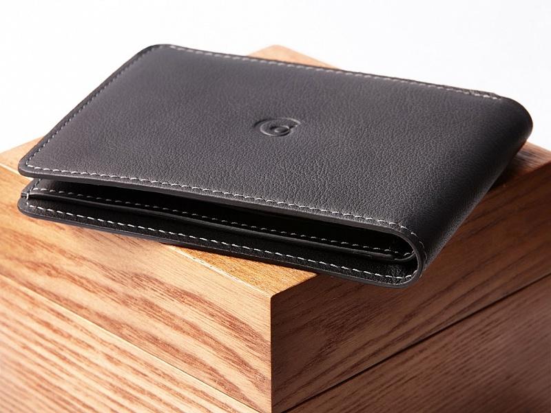 Černá kožená slim peněženka s přihrádkou na mince | Kožená peněženka s přihrádkou na mince