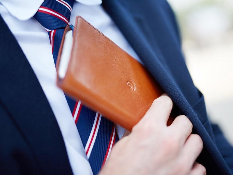 Hnědo modrá peněženka s pouzdrem na iPhone 6 Plus/6s Plus | Peněženka s pouzdrem na iPhone 6+/6s+