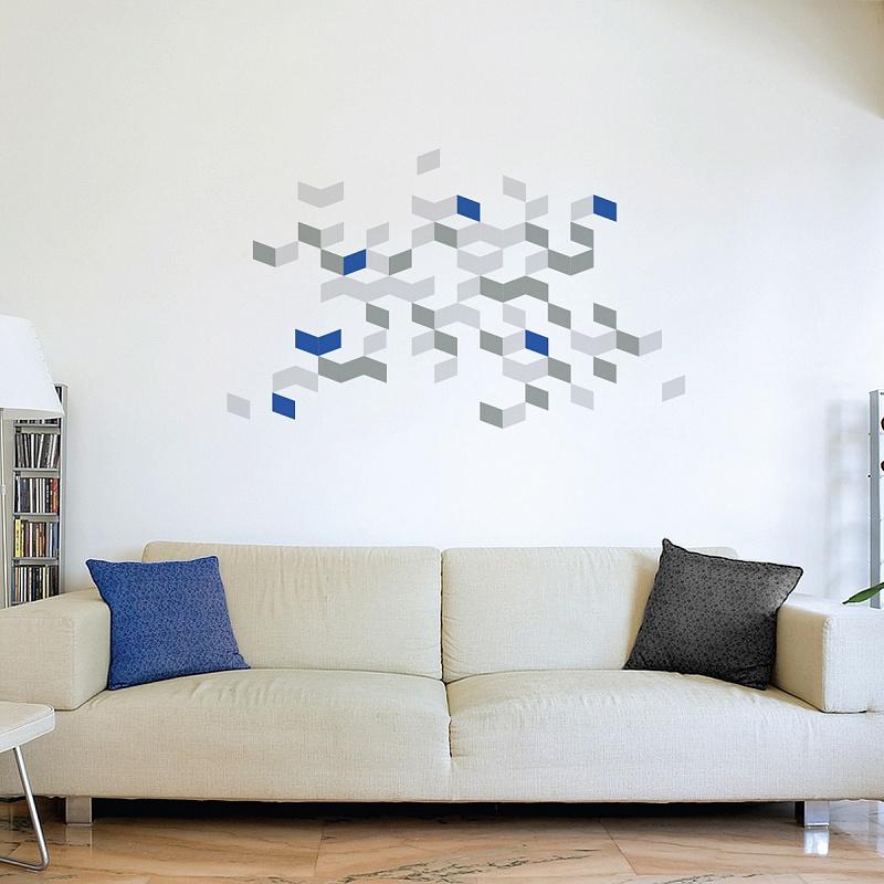 Abstraktní geometrické samolepky na stěnu cubus 072 074 098 | Cubus (w237)