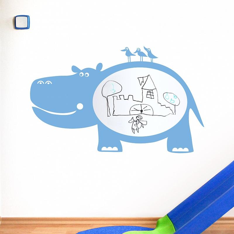 Bílá nalepovací tabule pro děti hroch | Bílá nalepovací tabule hroch (t08)