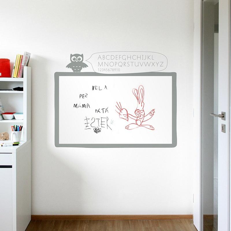 Bílá samolepicí tabule na zeď | Bílá nalepovací tabule sova (t10)
