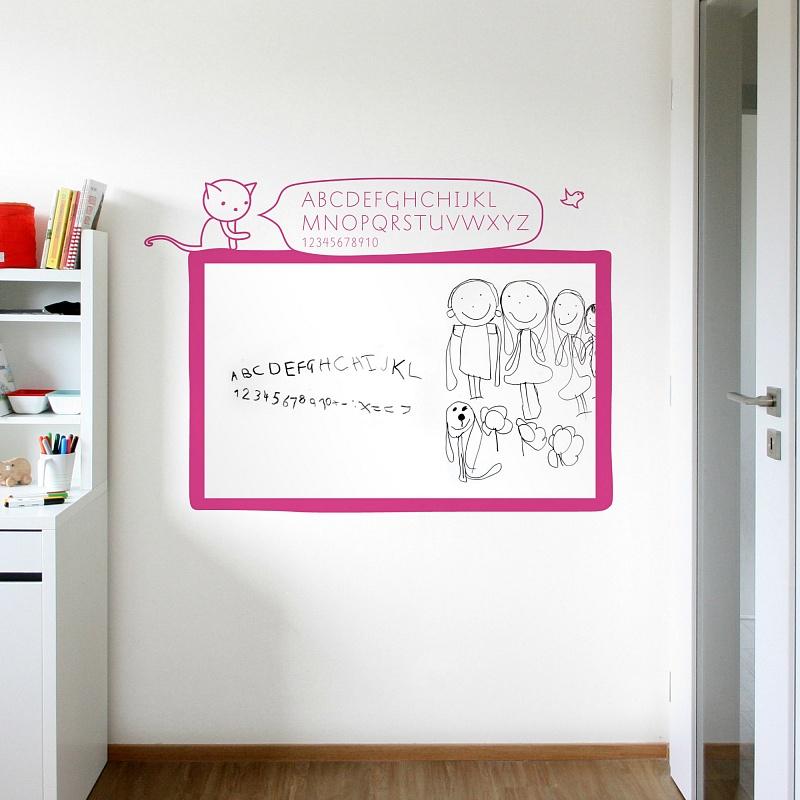 Bílá samolepicí tabule na zeď s abecedou do dívčího pokoje | Bílá nalepovací tabule kočka (t12)