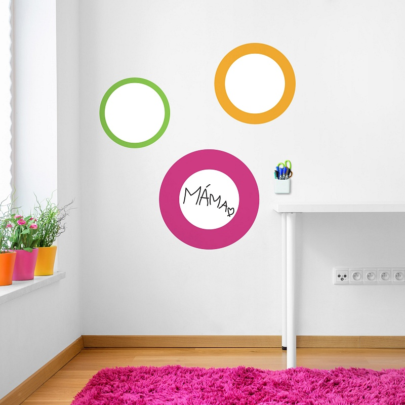 Bílé dětské tabule kruhy na zdi v dětském pokojíčku | Bílé tabule kruhy dětské (t23)