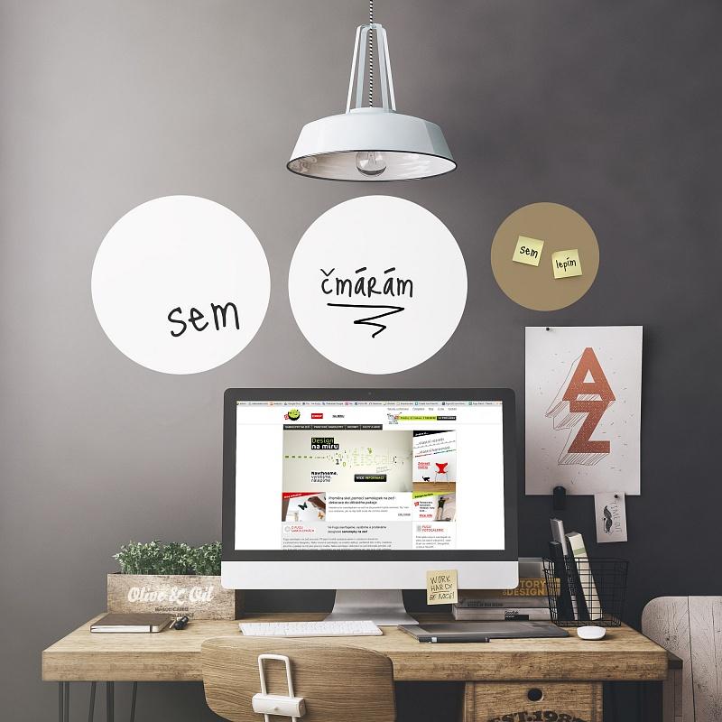 Fugu bílé tabulové samolepky na zeď do pracovny | Bílé tabule kruhy malá sada (t25)