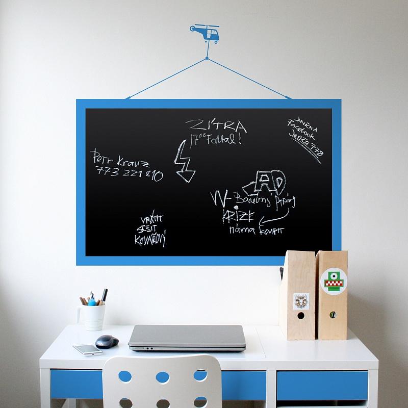 Cerna samolepici tabule s motivem vrtulniku na zed | Černá nalepovací tabule helikoptera(t15)