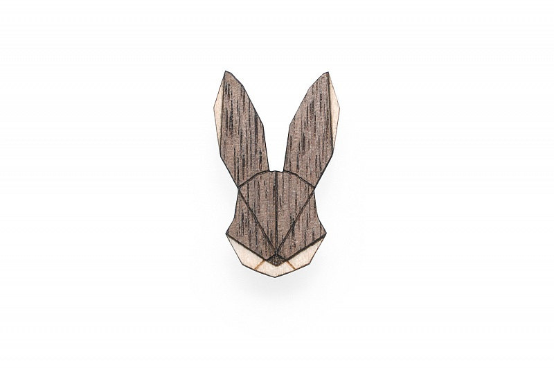 Dámská dřevěná brož Hare Brooch