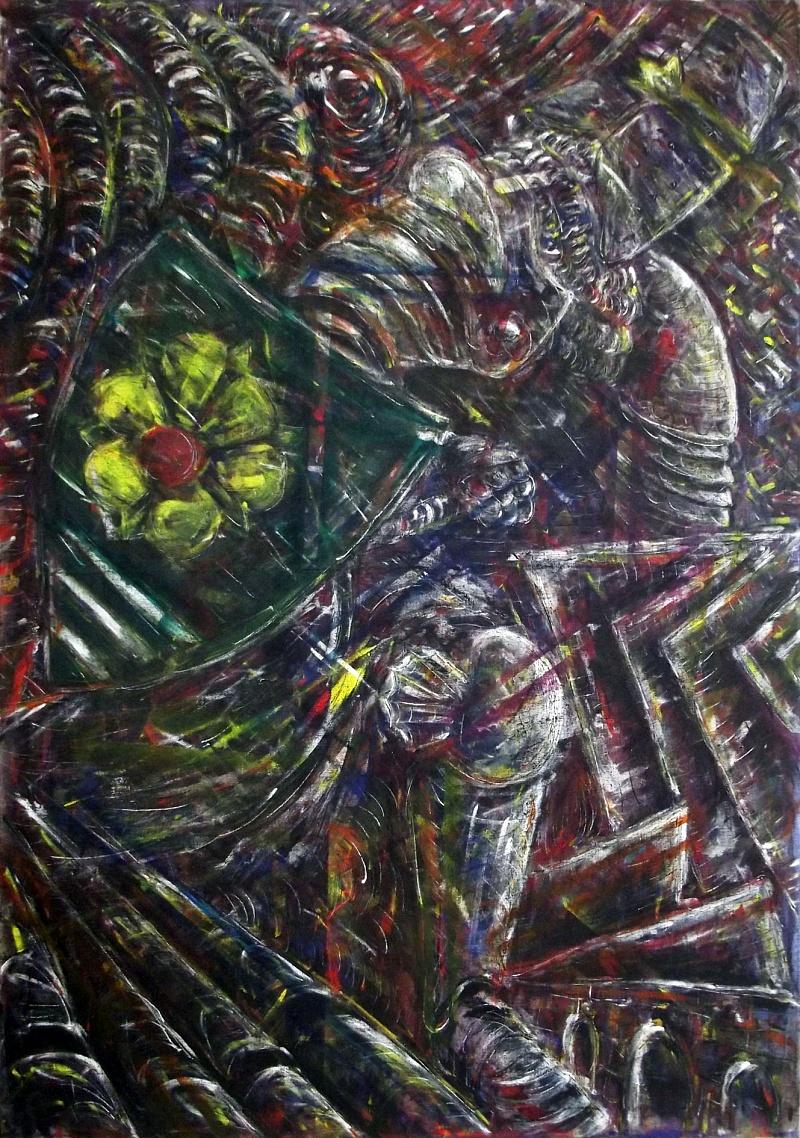 Fallen, kombinovaná technika na plátně, 100x145cm, 2016 | Fallen