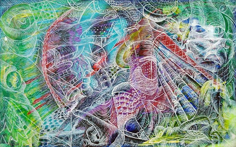 Kaleidoskop, kombinovaná technika na sololitu, 43×70cm, 2014 | Kaleidoskop I