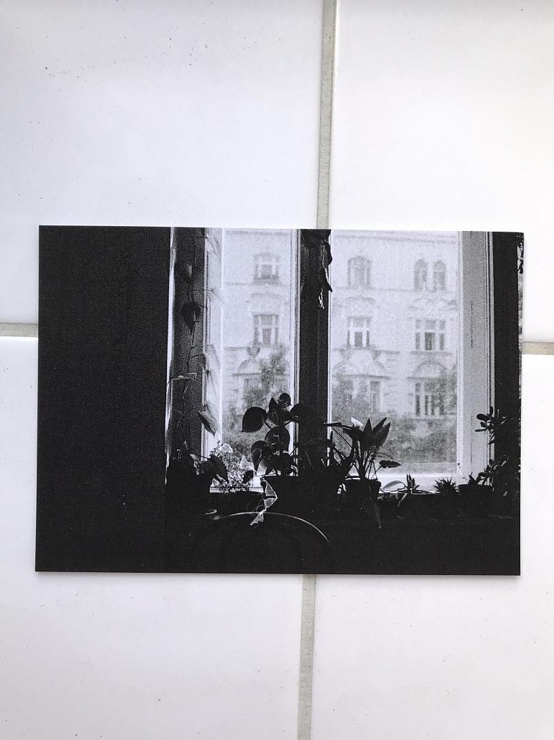 Kytky na okně - pohlednice