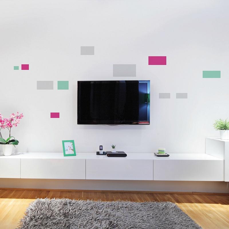 Minimalistické designové samolepky na zdi okolo televize obdelníky rectangulum 072 041 055 | Rectangulum (w257)