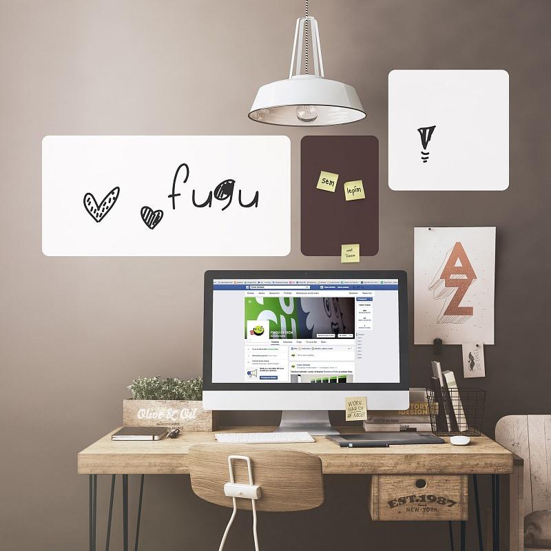 Obdelníkové tabulové folie bílé do pracovny na zeď | Bílé tabule obdélníky malá sada (t28)