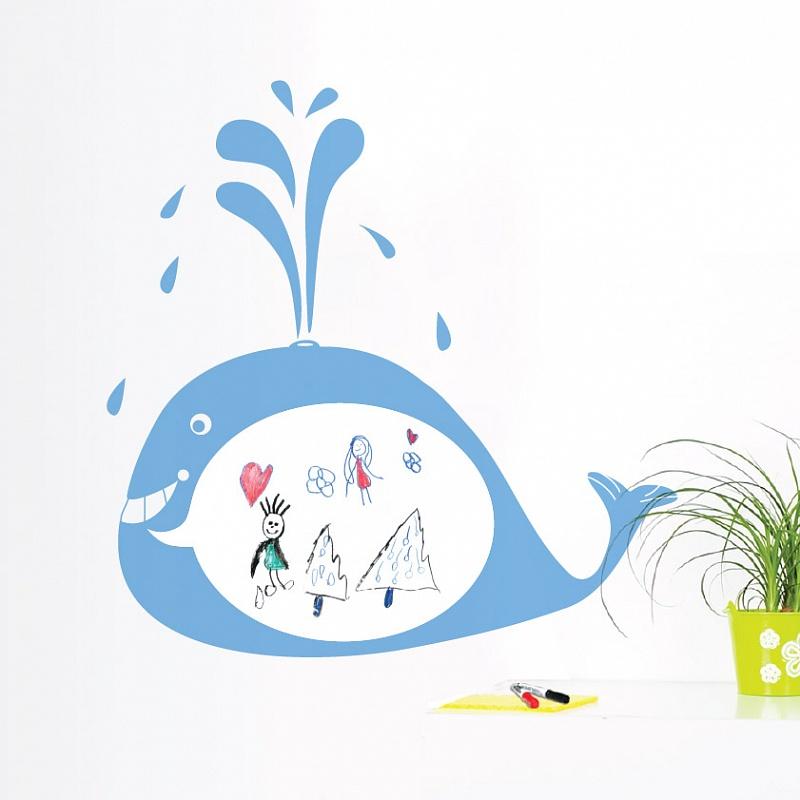 Samolepicí bílá tabule velryba do dětského pokoje | Bílá nalepovací tabule velryba (t06)