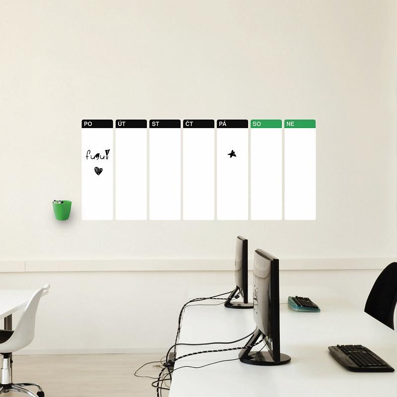 Samolepící tabulový kalendář týdenní velký bílý popisovatelný | Bílý tabulový kalendář týdenní (t21)