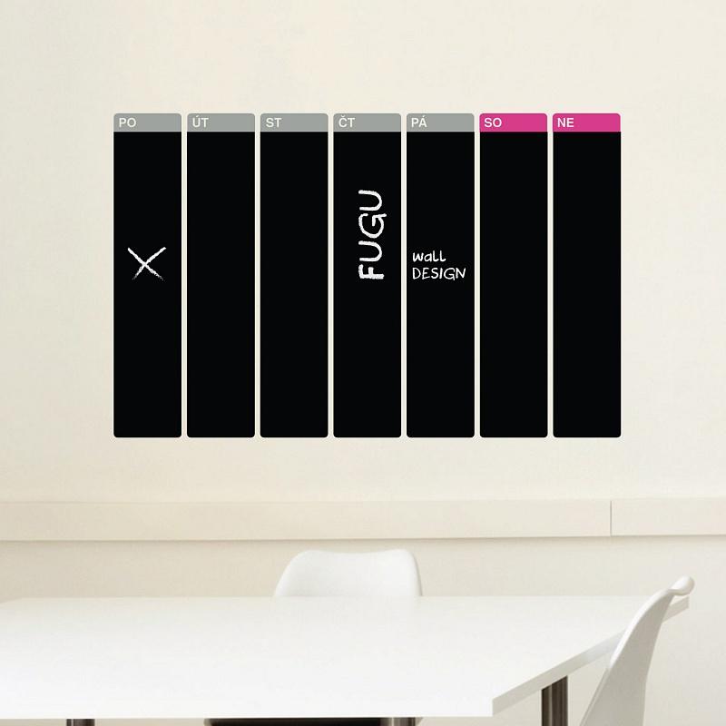 Samolepicí tabulový kalendář týdenní velký černý popisovatelný | Černý tabulový kalendář týdenní (t22)