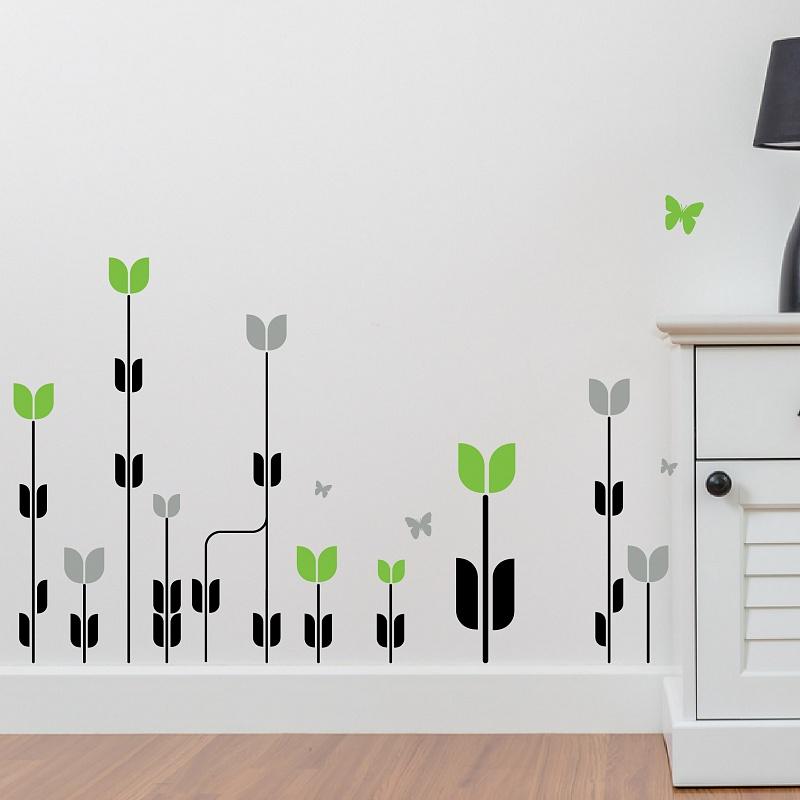 Samolepka kvety v pokoji se stolkem zelena 063 | Květiny (w26)