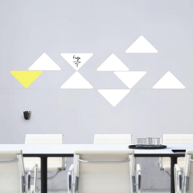 Tabulové trojúhelníky na zdi v kanceláři bílé velká sada | Bílé tabule trojuhelníky malá sada (t27)