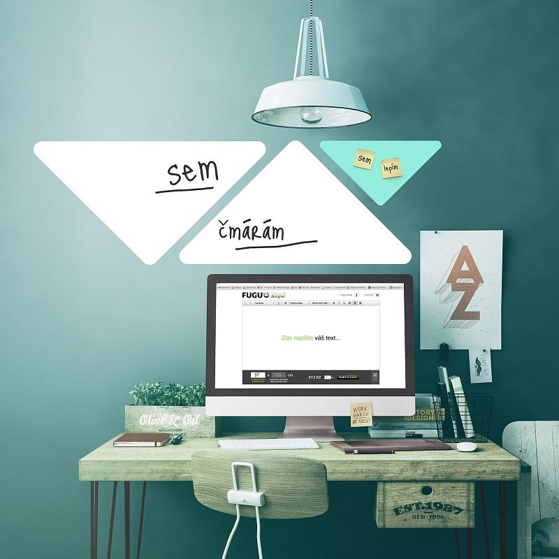 Trojúhelníkové popisovatelné samolepky na zdi v pracovně | Bílé tabule trojuhelníky velká sada (t26