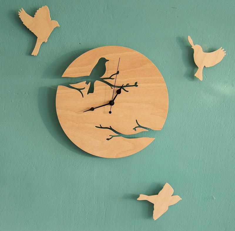 Hodiny z lesní říše + 3 kusy ptáčků