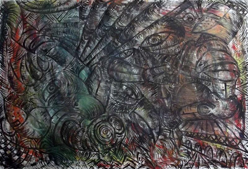 Worm In Armor, olej na plátně, 100×70cm, 2015   Worm In Armor